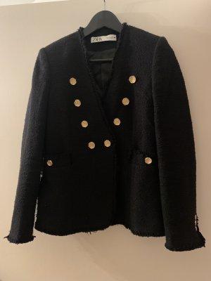 Zara Blazer Tweed negro-color oro