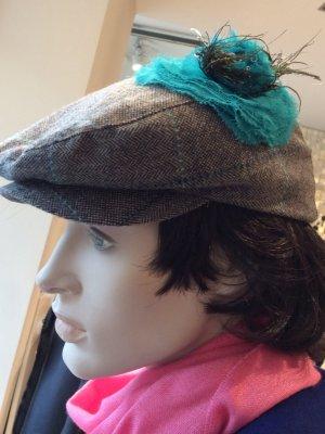 Cappello in tessuto grigio scuro-azzurro