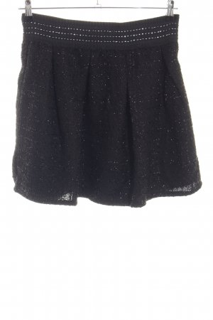 Falda Tweed negro-color plata elegante