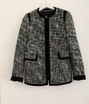 Mango Tweed Blazer black-white