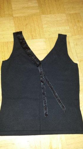Twelve&Co Sweter bez rękawów z cienkiej dzianiny czarny Wiskoza