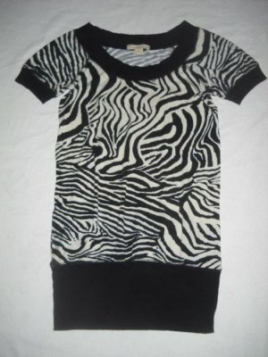 twentyone T-Shirt Long Shirt Zebra animal Print h m schwarz weiß S H M 34 36 USA