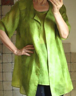 Twin Set, 2 Teile, Blusentop, Blusenjäckchen, Top/leichte Jacke, Longtop, Longbluse, grün, glattes, fließendes Material, Polyester, leichter Stoff, leicht transparent, zart, locker geschnitten, gecrasht, Apfelgrün, Grasgrün, Gelbgrün, Limette, neuwertig,