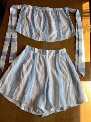 Twin set / 2 teiliges Set Outfit Top + Shorts weiß hellblau gesteift