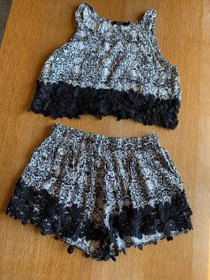 Twin set / 2 teiliges Set Outfit Top + Shorts weiß schwarz gemustert