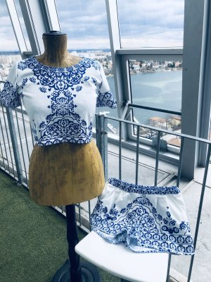 Ensemble tissé blanc-bleu tissu mixte