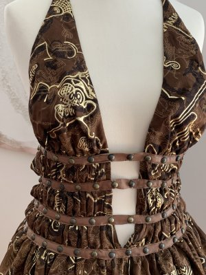 Woven Twin Set brown red silk