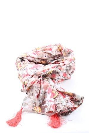 Twin set Bufanda de flecos blanco-rosa estampado con diseño abstracto