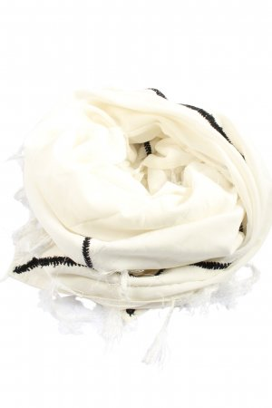 Twin set Fringed Scarf cream-black casual look