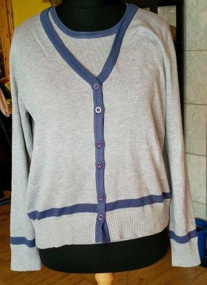 Lesara Berlin Knitted Twin Set light grey-blue cotton