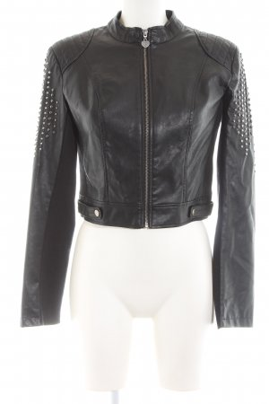 Twin Set Jeans Faux Leather Jacket black casual look