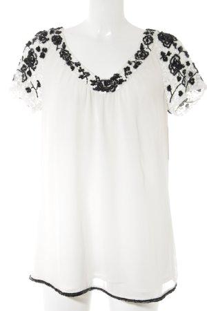 Twin set Kurzarm-Bluse weiß-schwarz Elegant