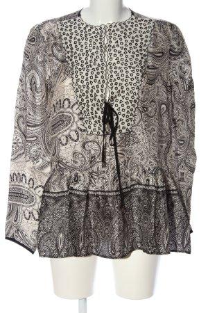 Twin set Langarm-Bluse weiß-schwarz abstraktes Muster Casual-Look