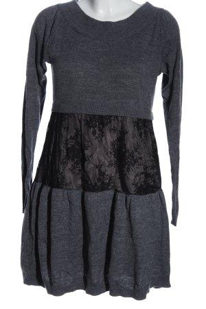 Twin set Sukienka z długim rękawem jasnoszary-czarny Melanżowy W stylu casual