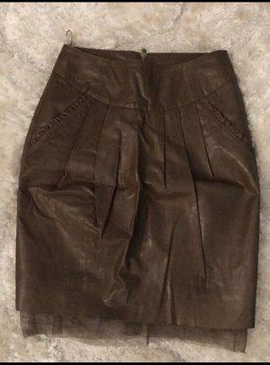 Twin set Falda de cuero marrón