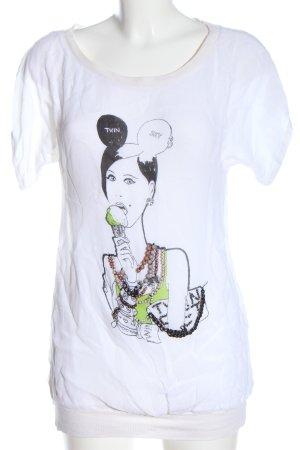 Twin-Set Simona Barbieri T-Shirt white themed print casual look