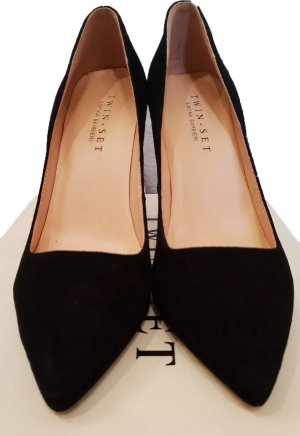 Twin Set Simona Barbieri Pumps Echt-Leder schwarz highheel Luxus 38 neuw classy
