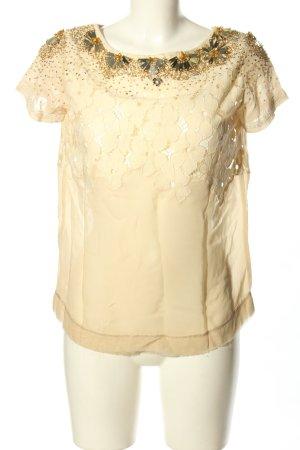 Twin-Set Simona Barbieri Blusa de encaje crema Patrón de tejido elegante