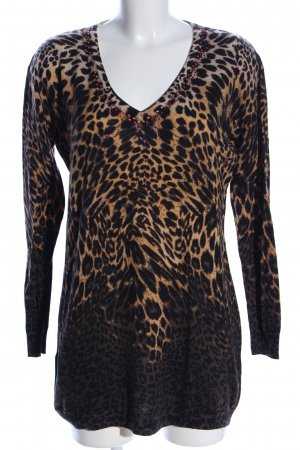 Twin-Set Simona Barbieri V-Ausschnitt-Pullover Animalmuster Casual-Look
