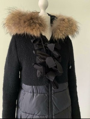 Twin-Set Simona Barbieri Wintermantel Daunenjacke Wolle Fellkapuze S