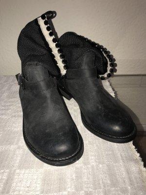 Twin set Botines slouch negro-blanco
