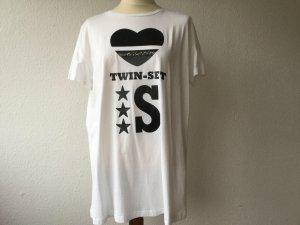 TWIN-SET T-Shirt Shirt Gr. M KA weiß mit schwarz NEU oversize Baumwolle