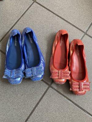Foldable Ballet Flats brick red-blue