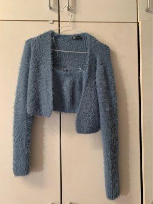 Zara Twin set in maglia azzurro