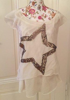 Poolgirl Camisa holgada blanco puro-color oro