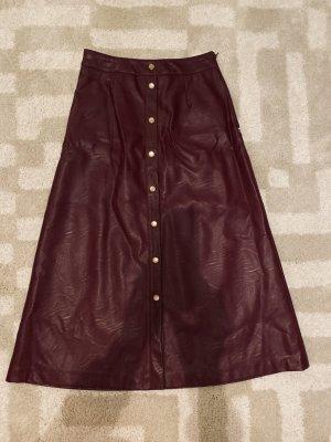 TwinSet Simona Barbieri Faux Leather Skirt purple imitation leather