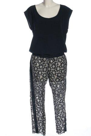 TwinSet Simona Barbieri Jumpsuit schwarz-wollweiß Blumenmuster Elegant