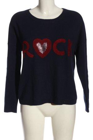 Twinset T.S.J. Wełniany sweter niebieski-czerwony Wydrukowane logo