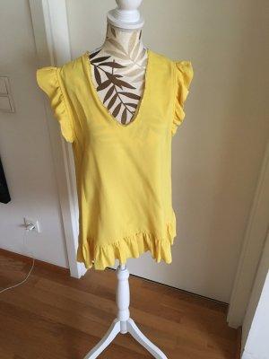 Twin-Set Simona Barbieri Top z falbanami żółty-bladożółty