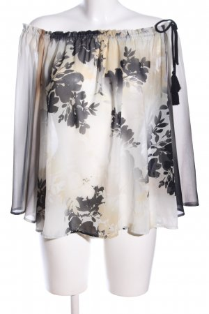 Twinset Transparenz-Bluse creme-schwarz abstraktes Muster Elegant