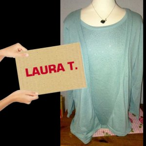 Laura T: Web twin set veelkleurig Gemengd weefsel