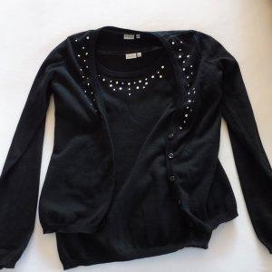 Ensemble en tricot noir-argenté coton