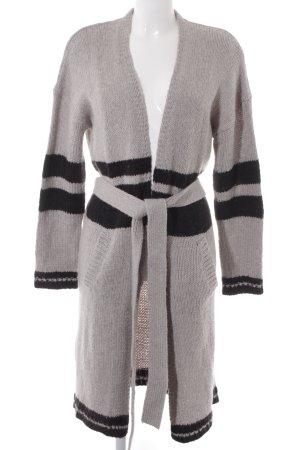 Twintip Cardigan hellgrau-schwarz Streifenmuster Casual-Look
