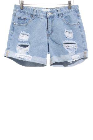 Twintip Hot Pants kornblumenblau Used-Optik