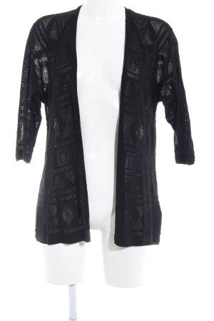 Twintip Strick Cardigan schwarz abstraktes Muster Casual-Look