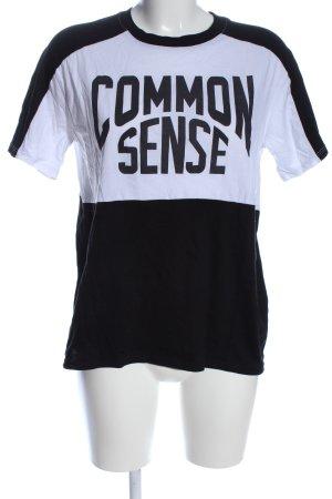 Twintip T-Shirt schwarz-weiß Schriftzug gedruckt Casual-Look