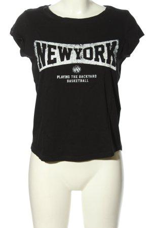 Twintip T-Shirt schwarz-weiß Schriftzug gedruckt sportlicher Stil