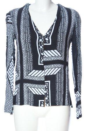 Twist & Tango Camicetta a maniche lunghe blu-bianco motivo astratto stile casual
