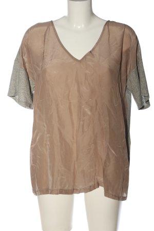 Twist & Tango T-shirt grigio chiaro-marrone puntinato stile casual