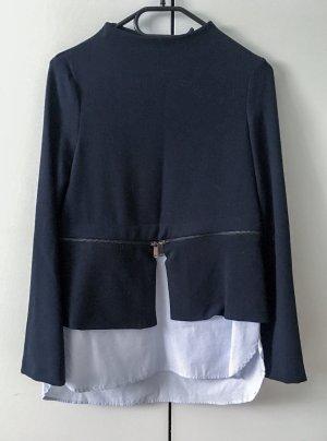 Two-in-One Pullover Zara Gr. XS Lagenlook Blogger Stehkragen dunkelblau