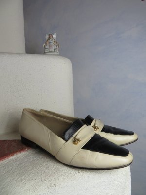 Two Tone Dandy Slippers - Classic Loafers - 100% Leather Leather sole - Off White Black College Shoes Golden Clasp- Gr. UK 4,5 EU 37 - Vintage