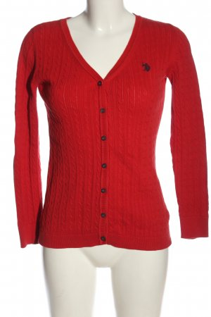 U.s. polo assn. Cardigan rot Schriftzug gestickt Casual-Look