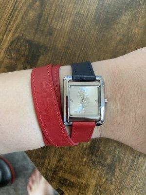 Us Polo ASSN Montre avec bracelet en cuir rouge foncé-bleu foncé