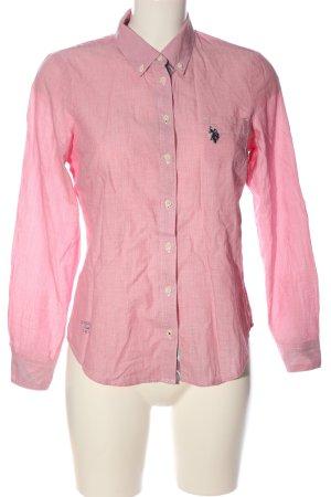 U.s. polo assn. Camicia a maniche lunghe rosa modello web stile casual
