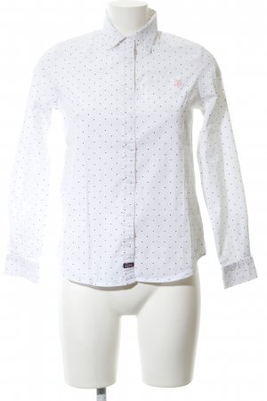 U.s. polo assn. Langarmhemd weiß-schwarz Punktemuster Business-Look