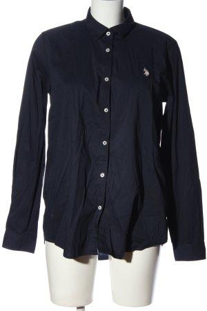 U.s. polo assn. Langarmhemd blau Schriftzug gestickt Casual-Look